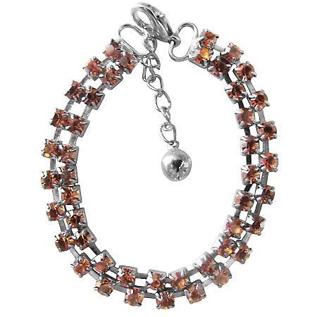 Double Stranded Embedded w/ Topaz Cubic zircon Wedding Dainty Bracelet