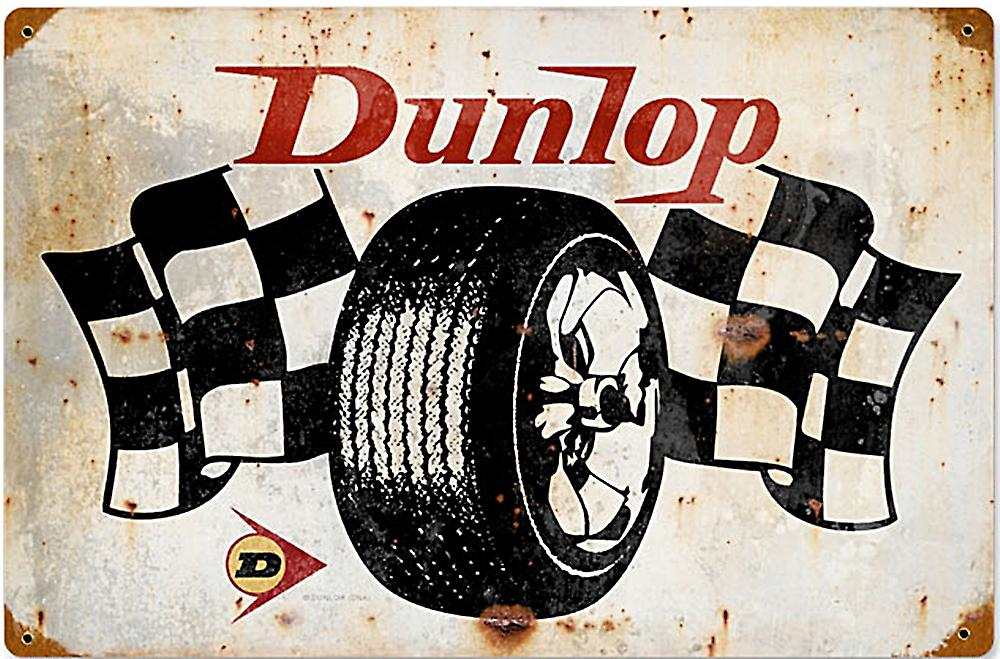 Dunlop Flags rusted metal sign   (pst 1812)