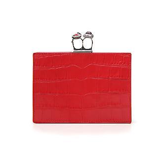 Alexander Mcqueen Red Leather Clutch