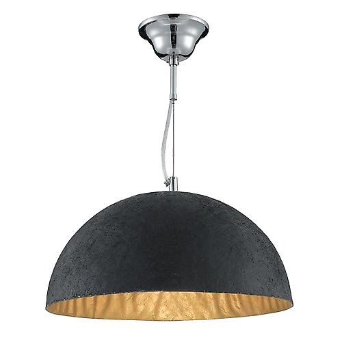 Searchlight 8149GO Dome Black Reisn Pendant With Gold Inner  Chrome Suspension