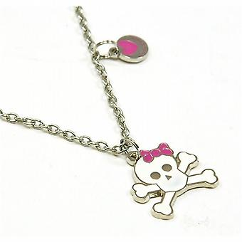 Pink Cookie Girls Silvertone Skull & Crossbone Pendant On 18 Inch Chain + Purse