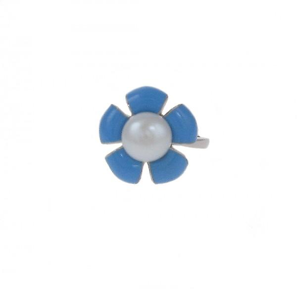 Cavendish French Sterling Silver and Blue Enamel Flower RIng