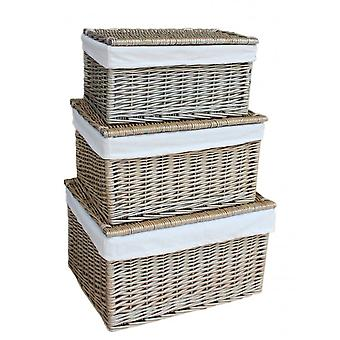 Small Antique Wash Cotton Lined Wicker Storage Basket