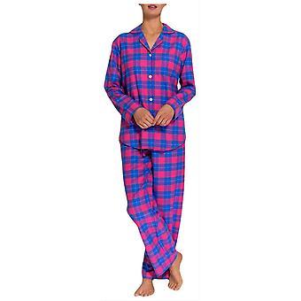 Britse boksers tartan twee voudige Flanel pyjama-roze/blauw
