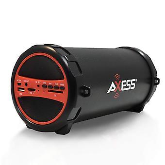 Axess draagbare Bluetooth Hi-Fi cilinder luidspreker met AUX ingangen-rood