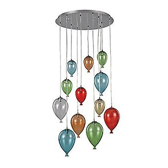 12 Light Large Cluster Pendant Multi-coloured
