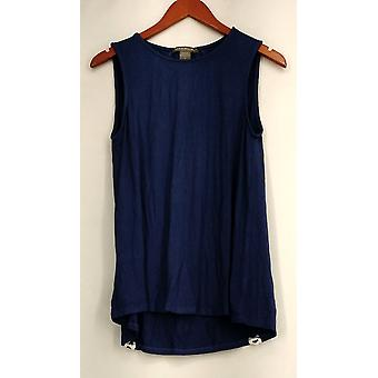 Kate & Mallory Top Sleeveless Tank Lace Up Back w/ Detail Blue A432215