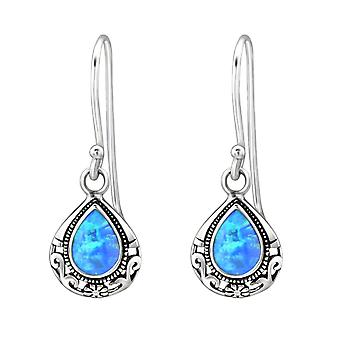 Tear Drop - 925 Sterling Silver Opal and Semi Precious Earrings - W23631X