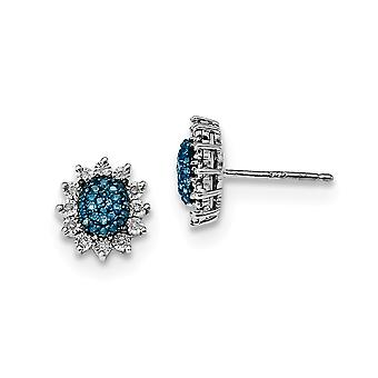 925 Sterling Silver Polished Prong set Open back Gift Boxed Rhodium-plated Blue and White Diamond Post Earrings
