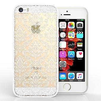 Yousave Accessories iPhone 5 and SE TPU Patterned Hard Case Damask White