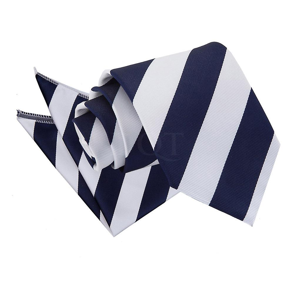 Striped Navy & White Tie 2 pc. Set