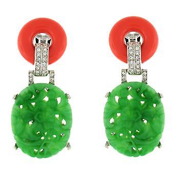 Kenneth Jay Lane luz Clip Art Decó de Jade y Coral en pendientes