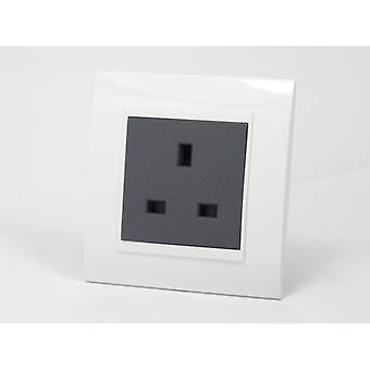 I LumoS AS Luxury White Plastic Arc  Single Unswitched Wall Plug 13A UK Sockets