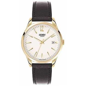 Henry London Unisex Westminster Black Leather White Dial HL39-S-0010 Watch