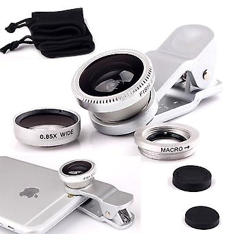 ONX3 Samsung Galaxy A8 / Samsung Galaxy A8 Duos (Silver) 3 in 1 Phone Camera Lens Kit Fisheye Lens + Wide Angle Lens + Macro Lens with Universal Clip-on 180 Degree For Both Android and iOS Devices