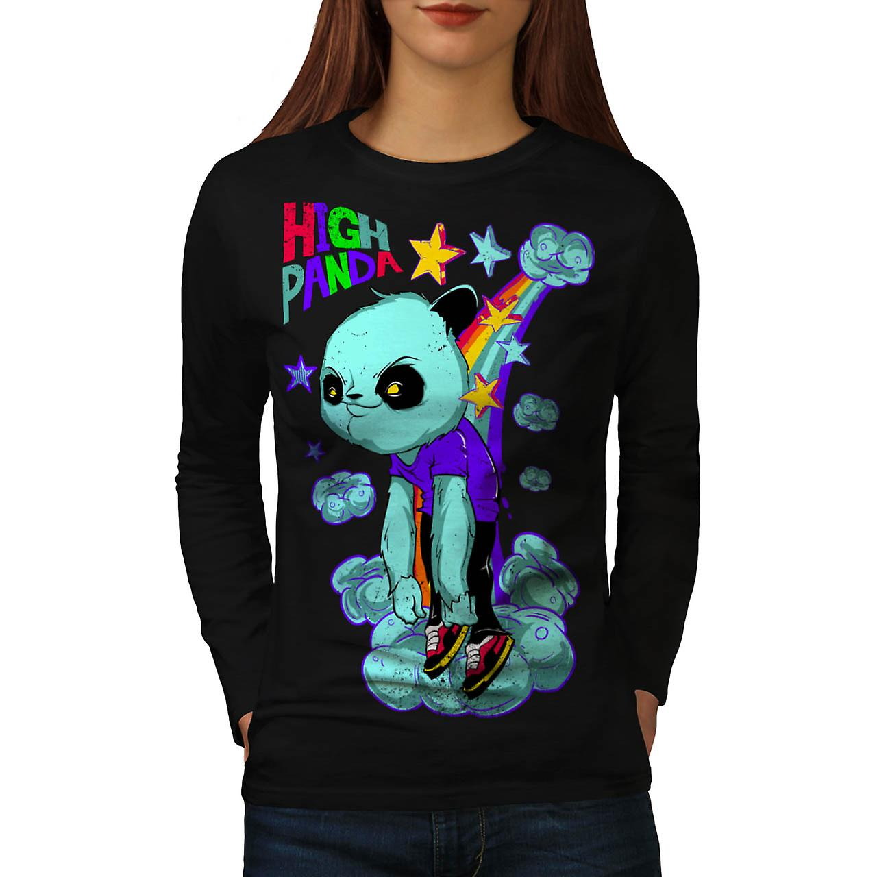 High Evil Panda China Rainbow Women Black Long Sleeve T-shirt | Wellcoda