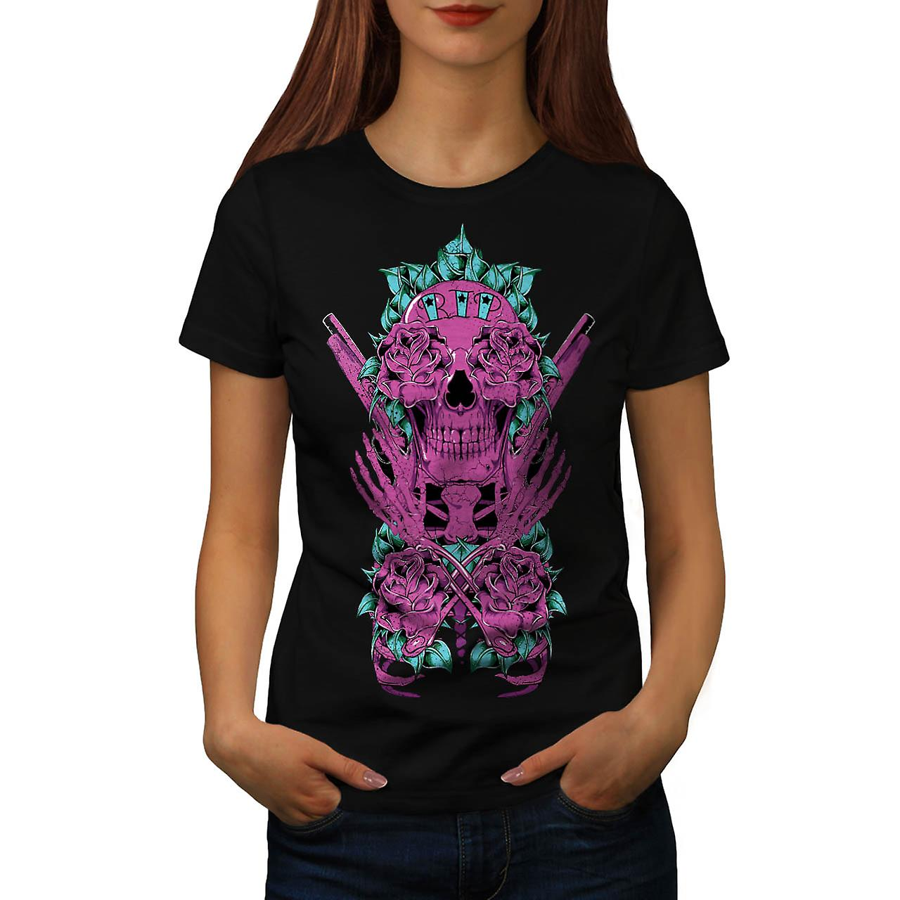 Deadman Rose Gun Skull Women Black T-shirt | Wellcoda