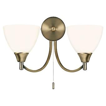 Endon 1805-2AN 2 Light Wall Light In Antique Brass