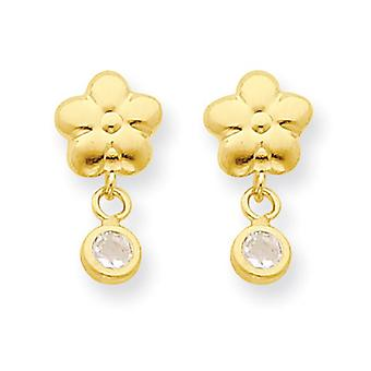 14k Gold Flower With CZ Post Earrings