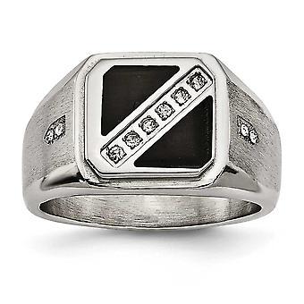 13.1mm rustfrit stål Satin og poleret med sort emalje Cubic Zirconia Ring - Ring størrelse: 9-12