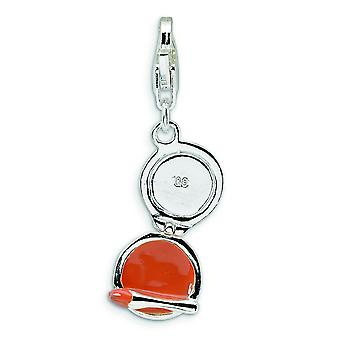 Sterling Silver Enamel Compact Makeup Mirror With Lobster Clasp Charm - 1.8 Grams - Measures 30x9mm
