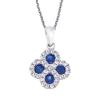 14k White Gold Sapphire and .13 ct Diamond Clover Pendant with 18