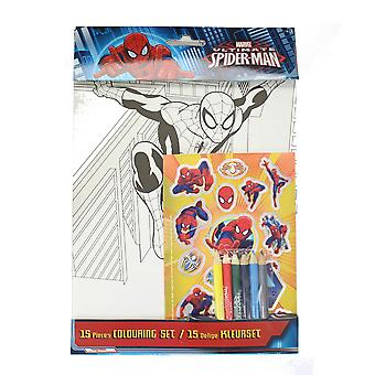 Marvel Spiderman 15 Piece Colour Set with Colouring sheets, Pencils & Stickers