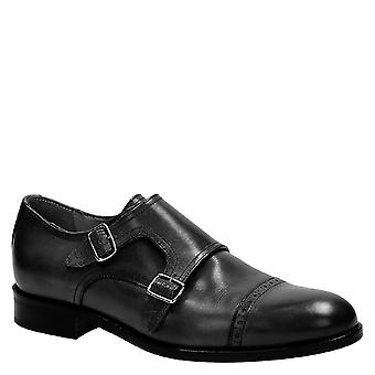 Handmade black monk strap shoes Made in Italy