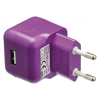 ValueLine AC charger with USB connector, USB A female-AC-contact for home, purple