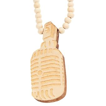 Wood style Bead Necklace - microphone beige