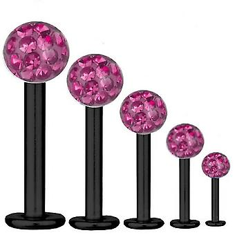 Bar di Labret trago Piercing titanio nero 1,6 mm, Multi sfera di cristallo rosa | 5-16 mm