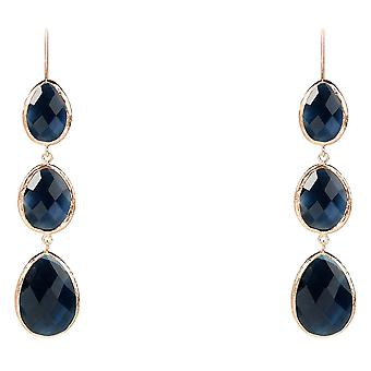 925 Sterling Silver Dangle Drop Rose Gold Earrings Navy Dark Blue Sapphire Hook