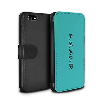 STUFF4 PU Leder Brieftasche Flip Case/Cover für das Apple iPhone 7 / blau/glaube Design / Doodle Words-Auflistung