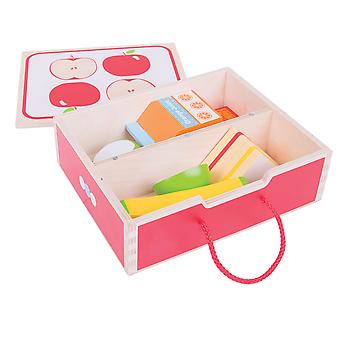 Bigjigs Toys Wooden Lunch Box with Wooden Play Food - Pretend Play Toys