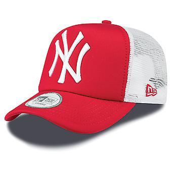 New Era NY Yankees rengör en Frame Truckerkeps - Scarlet