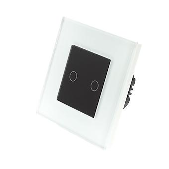 I LumoS White Glass Frame 2 Gang 1 Way Remote Touch LED Light Switch Black Insert