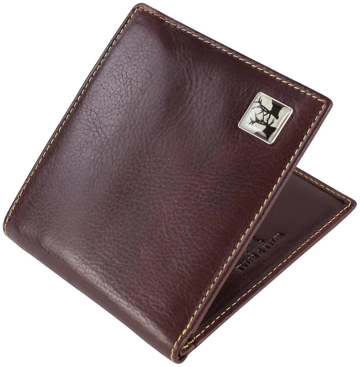 Tyler and Tyler Leather Rutting Stags Bill Fold Wallet - Brown