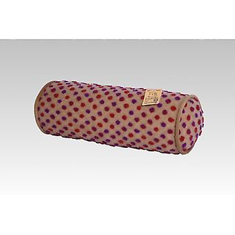 Neck roll pillow beige-colored wool 42 x 14 cm