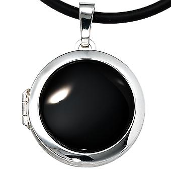 Medallion round 925 sterling silver 1 Onyx Black supporters to open