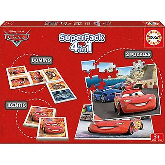 Educa Superpack Cars 2 (Toys , Boardgames , Traditionals , Puzzles , Skills)