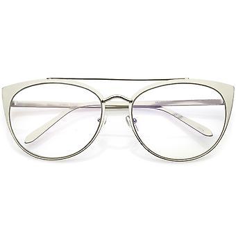 Women's Oversize Metal Cat Eye Glasses Crossbar Round Clear Flat Lens 61mm