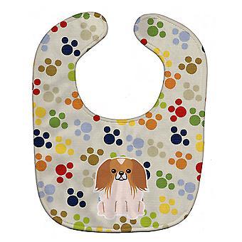 キャロラインズ宝物 BB5932BIB Pawprints Pekingnese 赤白の赤ちゃんよだれかけ