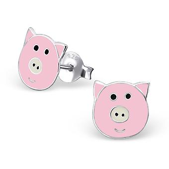 Pig Face - 925 Sterling Silver Colourful Ear Studs