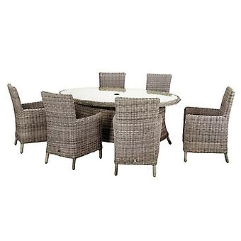 Royalcraft Wentworth Rattan 6 Seat Oval Carver Dining Set