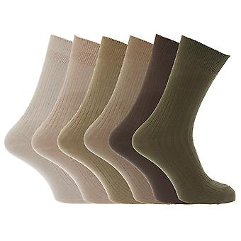 Mens 100% Cotton Ribbed Classic Socks (Pack Of 6)