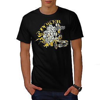 Poker Skull Car Gamble Men BlackT-shirt | Wellcoda