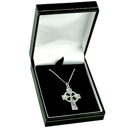 9ct White Gold 28x20mm hand engraved Celtic Cross with a curb Chain 16 inches