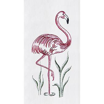 Pink Flamingo Flour Sack Kitchen Towel 27 Inches Embroidered Design