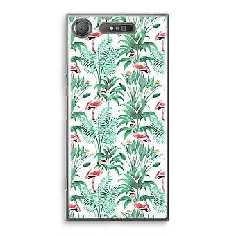 Sony Xperia XZ1 прозрачный корпус (Soft) - Фламинго листья
