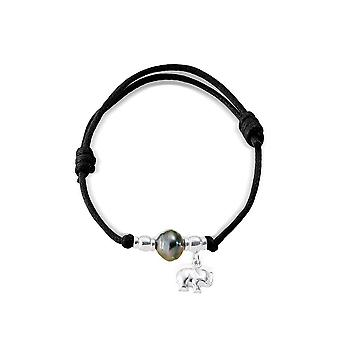 Adjustable bracelet wife Pearl of Tahiti, Elephant in 925 sterling silver and black wax cotton